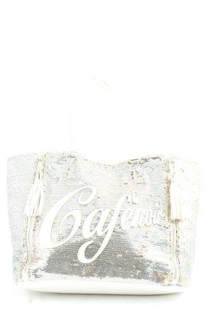 Cafènoir Torebka z rączkami srebrny-w kolorze białej wełny Wydrukowane logo