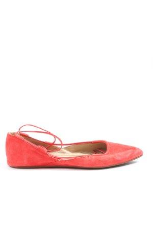 Cafènoir Baleriny z koronką czerwony W stylu casual