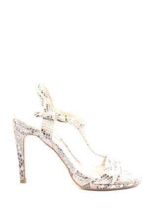 Cafènoir Peep Toe Pumps cream-brown allover print extravagant style