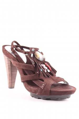 Cafènoir Platform High-Heeled Sandal brown casual look