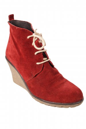 Caiman Wedge Booties dark red
