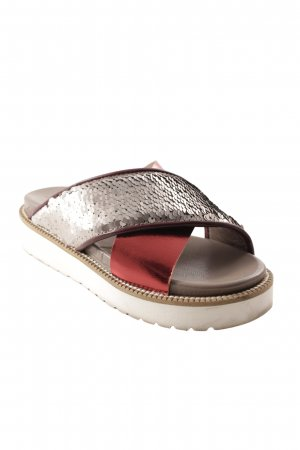 Caiman Platform Sandals silver-colored-dark red glittery