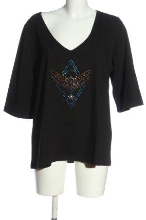 Cake&Candy Koszulka z dekoltem w kształcie litery V czarny Nadruk z motywem