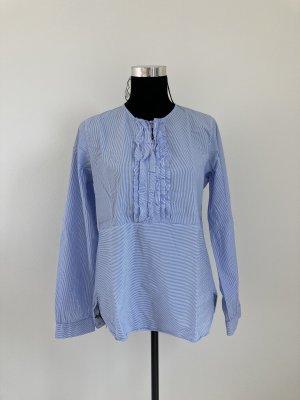 Caliban 820 tolle Bluse blau weiß gestreift 38 40 Biesen Tunika schick Business