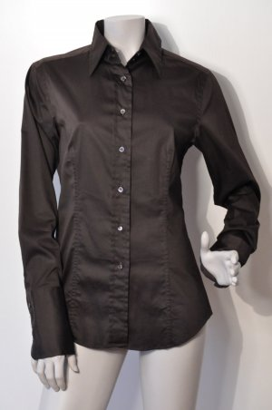 Caliban Long Sleeve Blouse dark brown cotton
