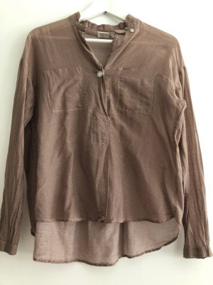 Caliban Camicetta a maniche lunghe marrone chiaro-crema