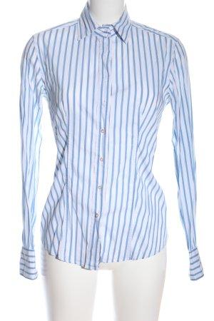 Caliban Camicia blusa bianco-blu motivo a righe stile casual