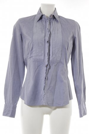 Caliban Blouse-chemisier gris ardoise-blanc style d'affaires