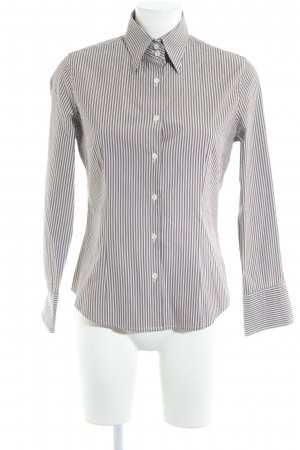 Caliban Hemd-Bluse graubraun-weiß Streifenmuster Business-Look