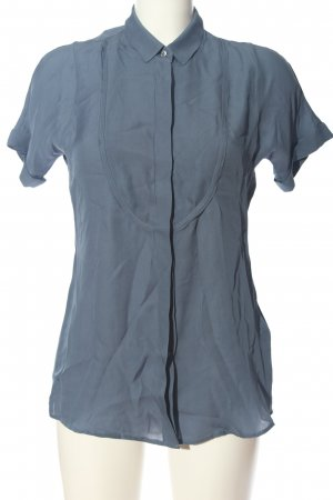 Caliban Kurzarm-Bluse blau Business-Look