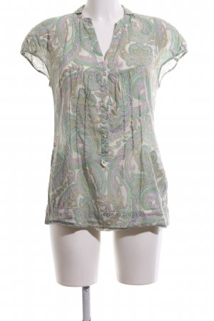 Caliban Short Sleeved Blouse cream-green abstract pattern casual look
