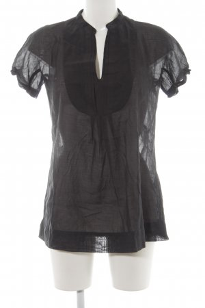 Caliban Kurzarm-Bluse schwarz Casual-Look