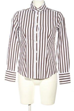 Caliban Camicetta a maniche lunghe marrone-bianco stampa integrale stile casual
