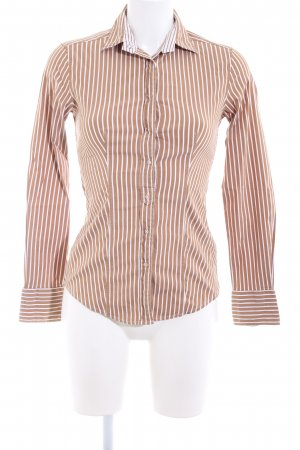 Caliban Long Sleeve Shirt white-brown striped pattern casual look