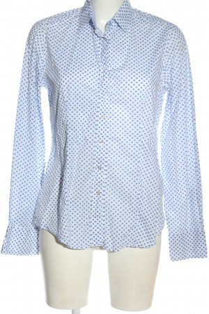 Caliban Langarmhemd weiß-blau Allover-Druck Business-Look