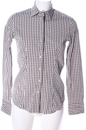 Caliban Long Sleeve Shirt white-brown check pattern business style