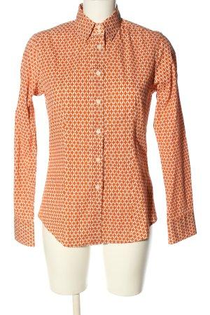Caliban Camicia a maniche lunghe arancione chiaro-bianco motivo grafico