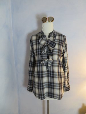 CALIBAN RUE DE MATHIEU EDITION Karo Bluse Kariert S M Volant Hemd Long Shirt Baumwolle