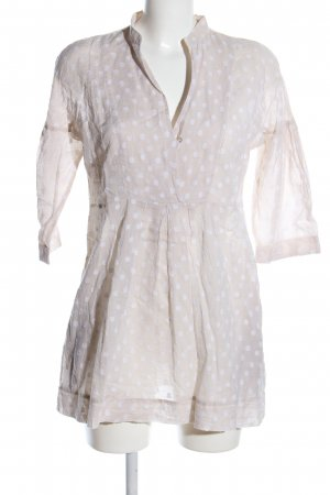 Caliban Blusa a tunica bianco sporco-bianco motivo a pallini stile casual