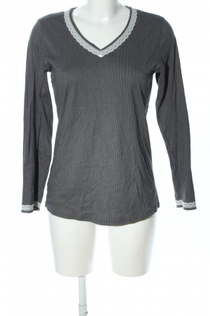 Calida Maglia con scollo a V grigio chiaro motivo a righe stile casual