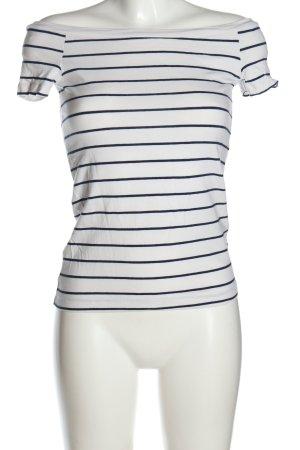 Calliope Top épaules dénudées blanc-bleu motif rayé style décontracté