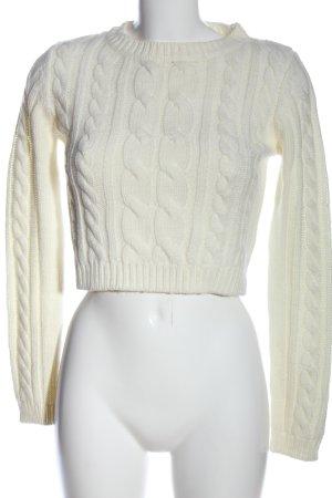 Calliope Sweter z grubej dzianiny biały Warkoczowy wzór W stylu casual