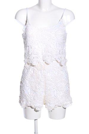 Calliope Top di merletto bianco-crema motivo floreale stile festa