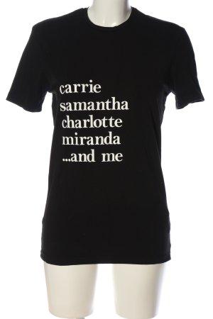 Calliope T-shirt nero-bianco caratteri stampati stile casual