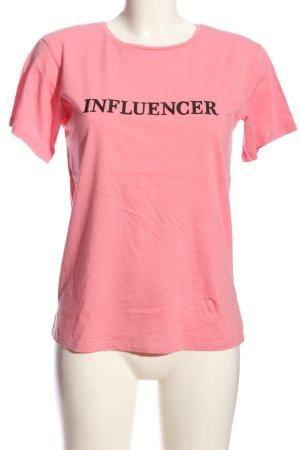 Calliope T-shirt rosa-nero Stampa a tema stile casual