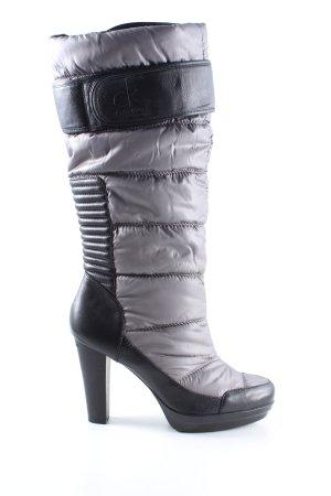 Calvin Klein Absatz Stiefel schwarz-hellgrau Steppmuster Casual-Look