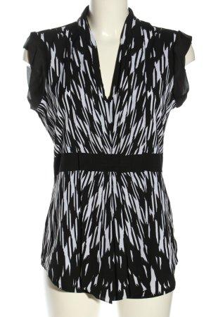 Calvin Klein ärmellose Bluse schwarz-weiß abstraktes Muster Casual-Look