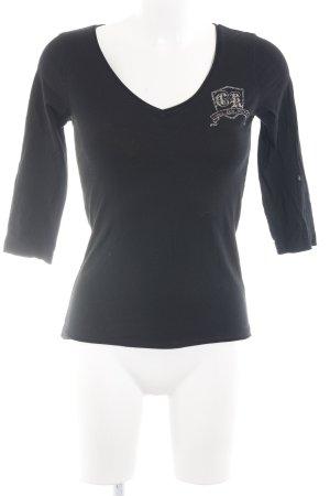 Calvin Klein Basic Top schwarz-silberfarben Schriftzug gedruckt Casual-Look