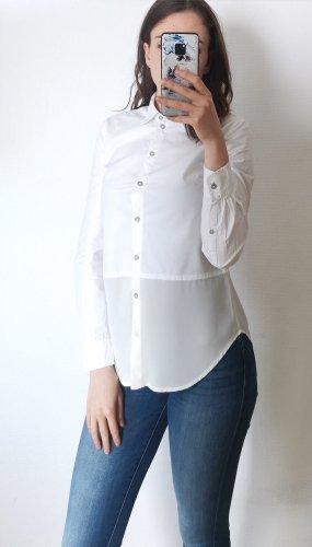 Calvin Klein Bluse Hemd Gr. XS Weiß mit Chiffon Teil luftig locker