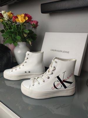 Calvin Klein CK high top Sneaker Gr. 38 plateau weiß schwarz