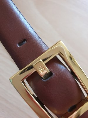 Calvin Klein Leather Belt gold-colored-brown leather