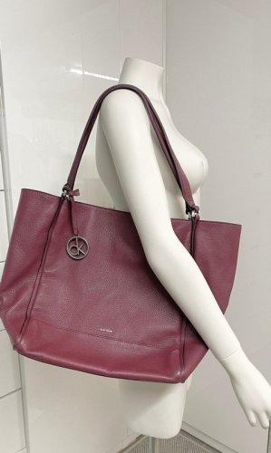 Calvin Klein, CK, Shopper, Tasche, Shopping Bag, Leder, Rot, Bordeaux, gross,