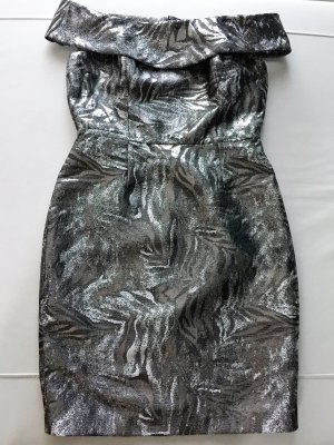 Calvin Klein Damen Silber Metallic Jacquard Cocktailkleid NEU