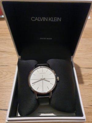 Calvin Klein Horloge met lederen riempje zwart