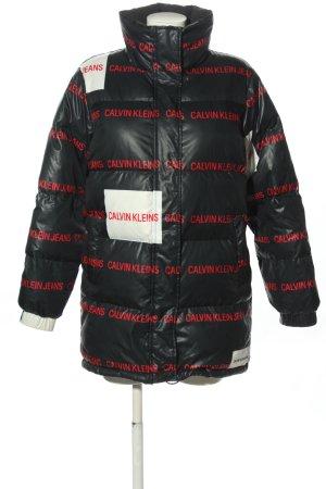 Calvin Klein Kurtka puchowa czarny-czerwony Na całej powierzchni W stylu casual