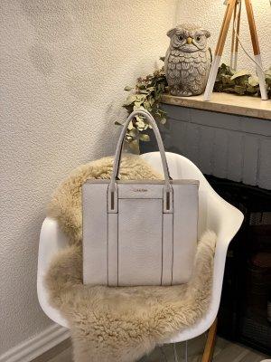 Calvin Klein Bolso de compra blanco-color oro Cuero