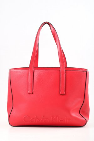 Calvin Klein Henkeltasche rot Schriftzug gedruckt Casual-Look
