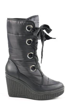 Calvin Klein Absatz Stiefel schwarz Steppmuster Casual-Look