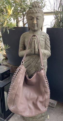 Calvin Klein Hobo Bag Tasche Schultertasche Leder Taupe Braun
