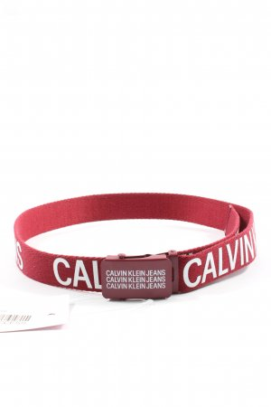 Calvin Klein Jeans Canvas Belt red printed lettering casual look