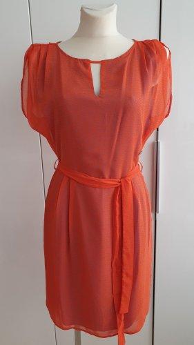 Calvin Klein Jeans Chiffon jurk oranje-lichtblauw