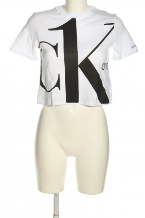 Calvin Klein Jeans Koszula o skróconym kroju biały-czarny Wydrukowane logo