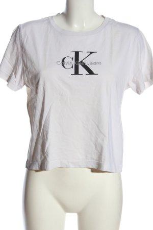 Calvin Klein Jeans Cropped Shirt weiß-schwarz Schriftzug gedruckt Casual-Look