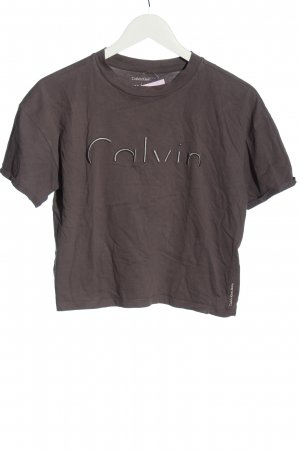 Calvin Klein Jeans T-shirt court gris clair lettrage brodé style décontracté