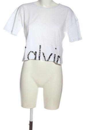 Calvin Klein Jeans Cropped Shirt weiß Schriftzug gedruckt Casual-Look