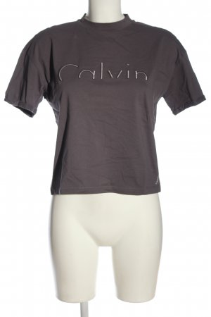 Calvin Klein Jeans Cropped Shirt light grey embroidered lettering casual look